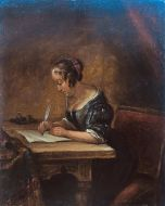 Oil Painting : Woman Writing