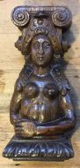 C17th Oak Carving Of Female Figure